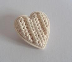 Love2Knit brooch. polymerclay by OriginalBunny