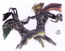 Thor vs. Loki by Art-For-Our-Hearts