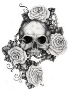 Skull and Roses by ItsFranFranStuff