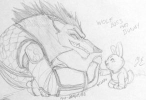 Wolf Boss and Bunny by AniDragmire