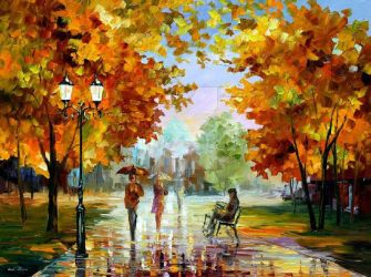 October Park by Leonid Afremov by Leonidafremov