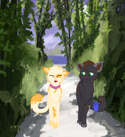 A Walk with Lilly and Felix by LunaShineArts