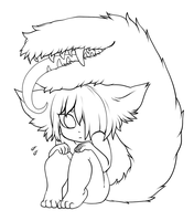 free use lineart - scared little tailmouth by tailmouth