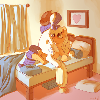 on the bed by Mewball