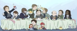 Commission with Angels' Family Dinner by SilasSamle