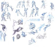 Body study 1 - pose reference male and female by MaruExposito