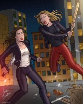 Buffy vs Faith by JericaWinters