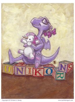 UNIKORNS! Completed painting (acrylic) by mhelwig