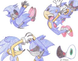 Sonic Vs. Metal Pen Sketches by VibrantEchoes