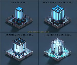 Power Cell - RTS concept - Voxel art by Waterflame89