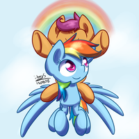 Scootaloo,Rainbow Dash by iibereS