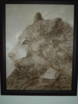 Bear woodburning finished by eveningdawn