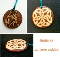 CELTIC KNOT 2 two sided key chain with monogram by YANKA-arts-n-crafts
