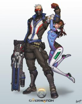 Overwatch-soldier76 D.Va by katoyo