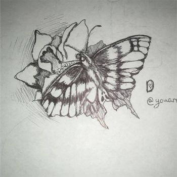 InkTober~ Day Three~ Butterfly by DixieLuve