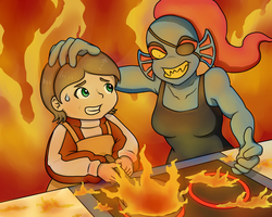 Undyne Cooking with Kindness by ShakeablePanda