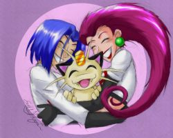 Team Rocket snuggles by Emchromatic