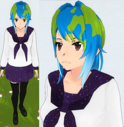 Yandere sim skin: Earth-Chan by TeleviCat