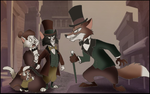 Victorian Fox vs Cat duel by R101D