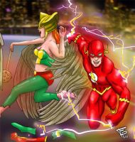 The Flash and Hawk Girls 2nd Tickle by Fantasy-Play