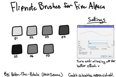 Flipnote Brushes (For Firealpaca) by Helen-The-Potato