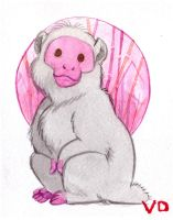 Mini watercolor : Japanese monkey by kineko