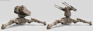 Military Mech Assault Turret Concepts (WIP) by dkounios