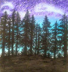 The night in oil pastel by mich-spich