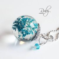 Resin orb sphere with real pressed flowers by Ruby-creations