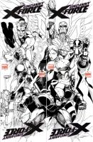 uncanny x-force drawn on 4 blank variants by Dingodile24