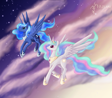 Celestia and Luna by Dalagar