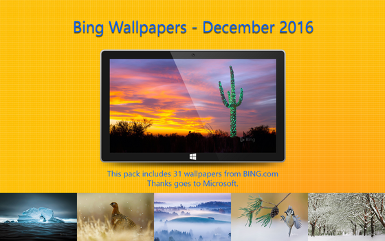 Bing Wallpapers - December 2016 by Misaki2009