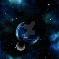 Blue Planet with Moon Space Background by Elle-Arden