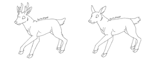 free doe and stag lineart by Pimsri