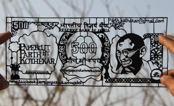 Papercut art - Indian 500 rupees note by ParthKothekar