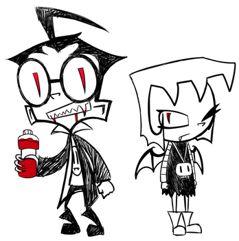 Vampire Dib and Vampire Gaz doodle by ReneesRetrograde