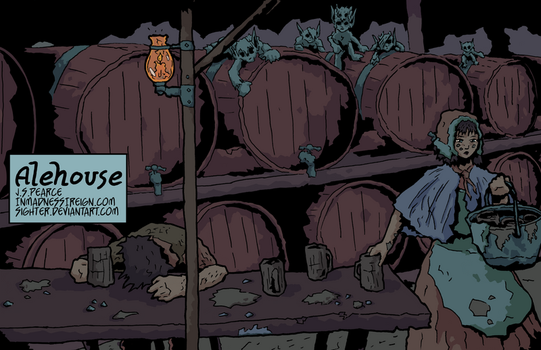 Alehouse (inktober, colored) by Sighter