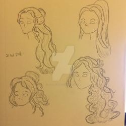 Inktober/Artober - Day 21: Face and Hair Practice by HazelRose3637