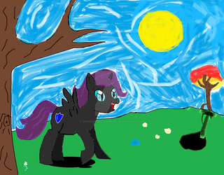 Nyx in the meadow by ChaosPhantasm2000