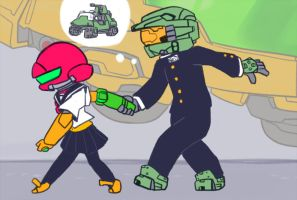 Samus and Master Chief - School Love by SonicTheHedgeSantos