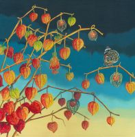 Physalis and Agrias amydon butterfly by LynneHendersonArt