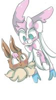 Sylveon and Eevee -pokemon by justarandomfruit