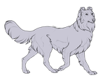 Lineart: Rough Collie by Renegumnums