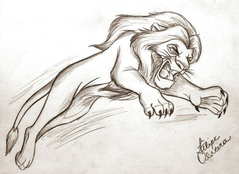 Sketch Disney - Simba by filipeoliveira
