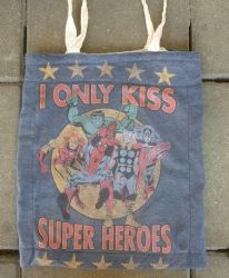 Recycled superhero tote bag by BellaGBear