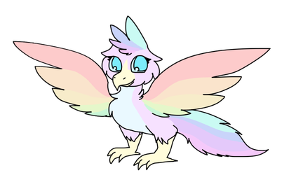 Pastel Rainbow Bird by MinoesTheKitty