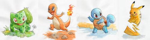 Kanto starters by ThePandamis