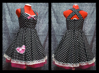 polka dot swing dress by Maraleopard