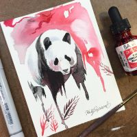 Panda Watercolor Mini by Lucky978