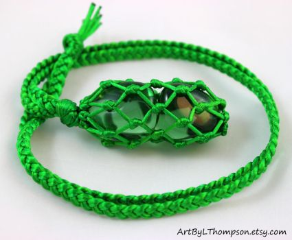 Green Obsidian Green Satin Cord Necklace by ArtByLThompson